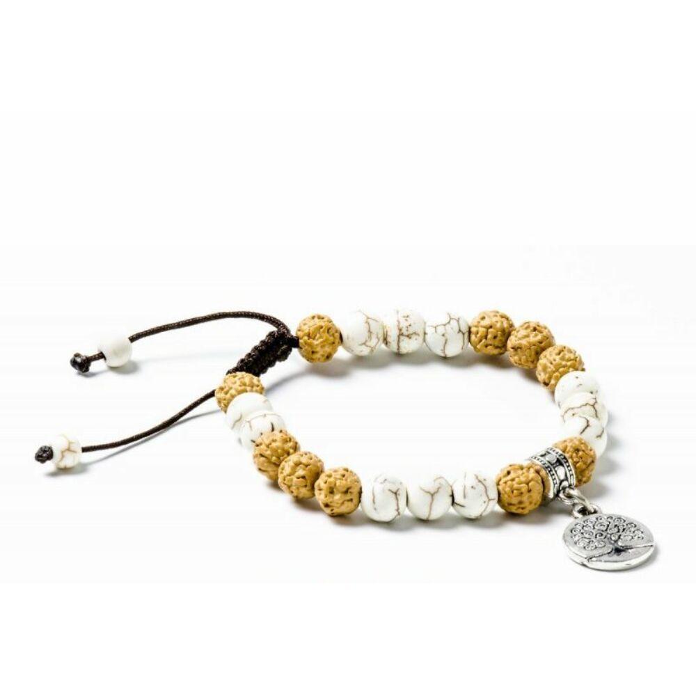 Howlit, rudraksha - prémium minőségű, életfa jel, állítható karkötő, csuklómala
