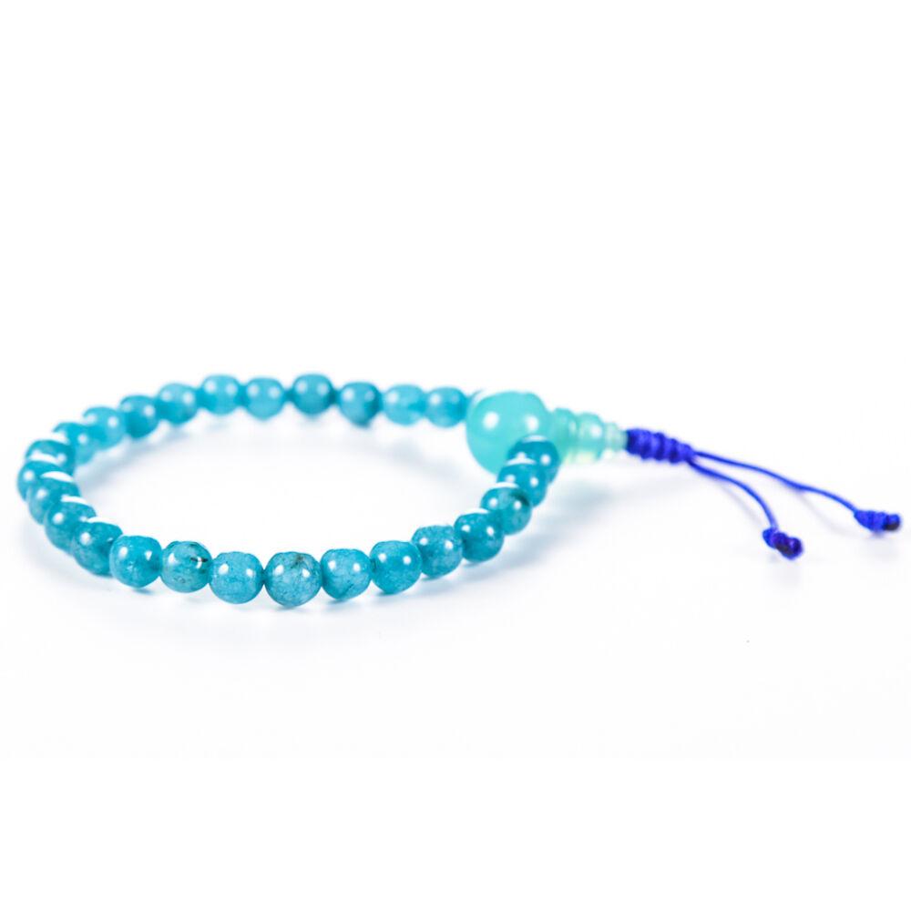 Kék jáde csukló mala, gumis - a belső erő, a megtisztulás és szeretet köve