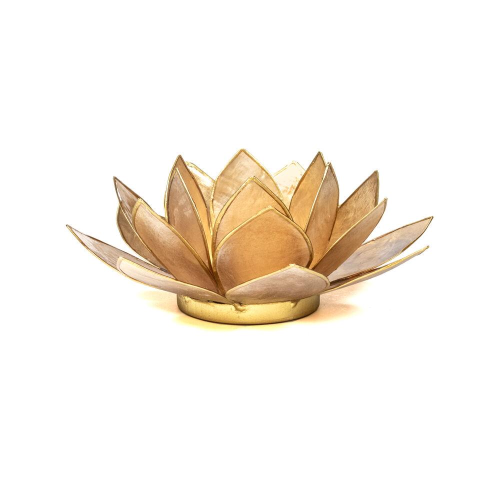 Mécsestartó Lótuszvirág 13,5 cm - bézs arany szegéllyel