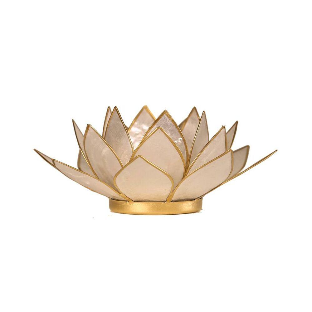 Mécsestartó Lótuszvirág 13,5 cm - gyöngyházszín arany szegély