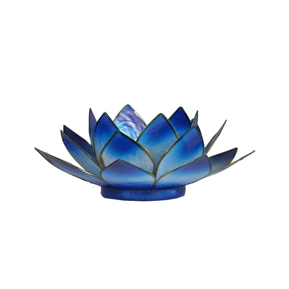 Mécsestartó Lótuszvirág 13,5 cm - kék, arany szegéllyel