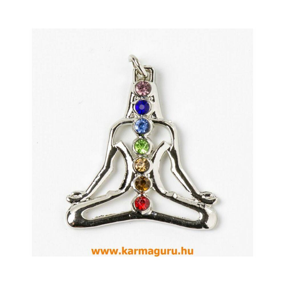 Ülő Buddha medál 7 csakra kővel
