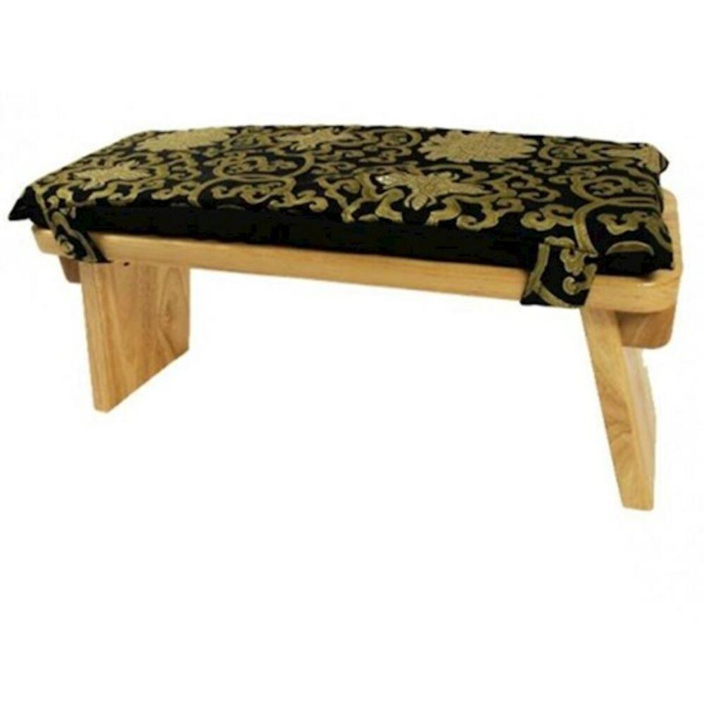 Meditációs padpárna fekete/arany huzattal - lótusz minta
