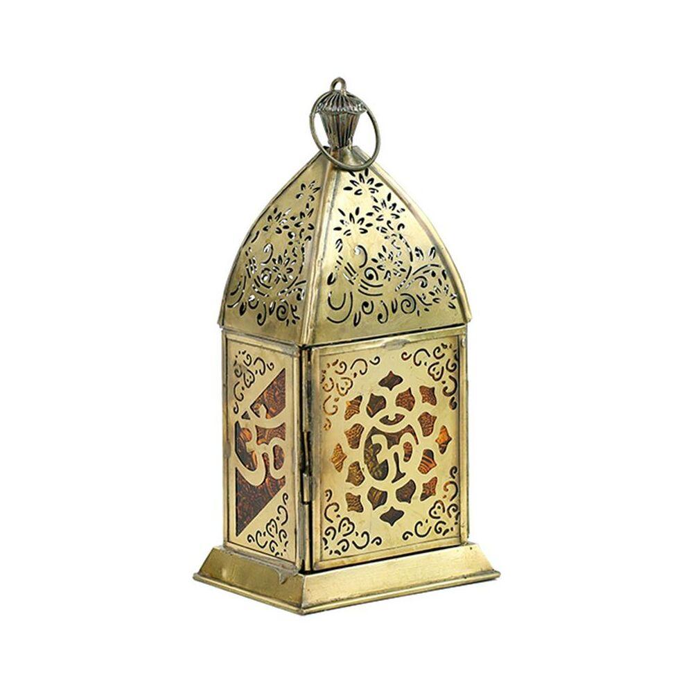 Orientális Gyertyatartó, fém, Om lótusz mintával, 7,5x10x20