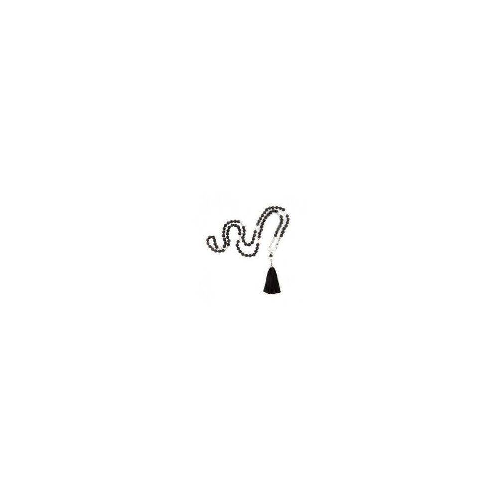 Mála nyaklánc fekete lávakő és okenit, 108 szem