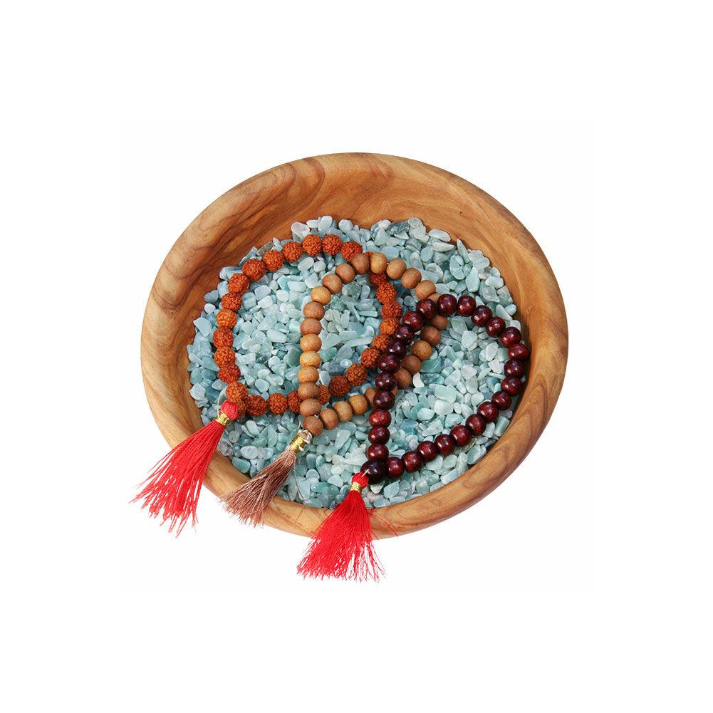 MÁLA - karkötő rózsafából, piros zsinórral, 27 szemes