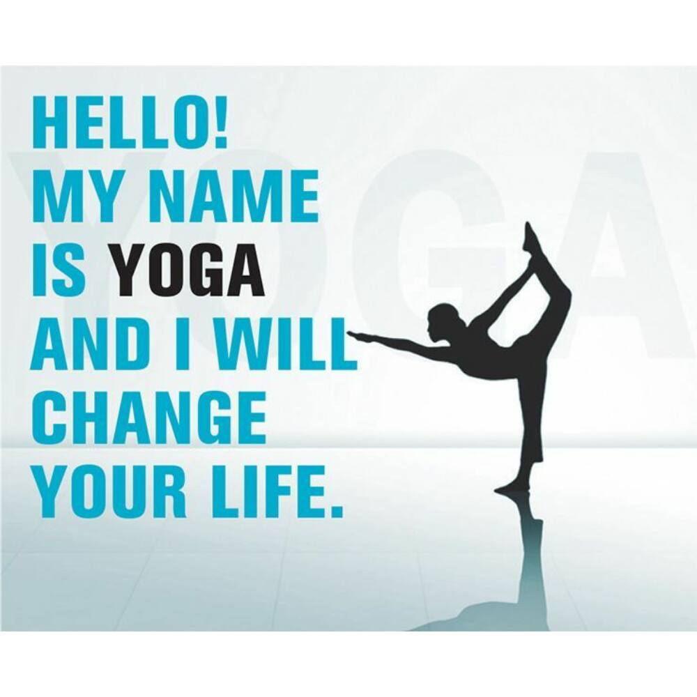 Hűtőmágnes - Hello My name is Yoga - kék