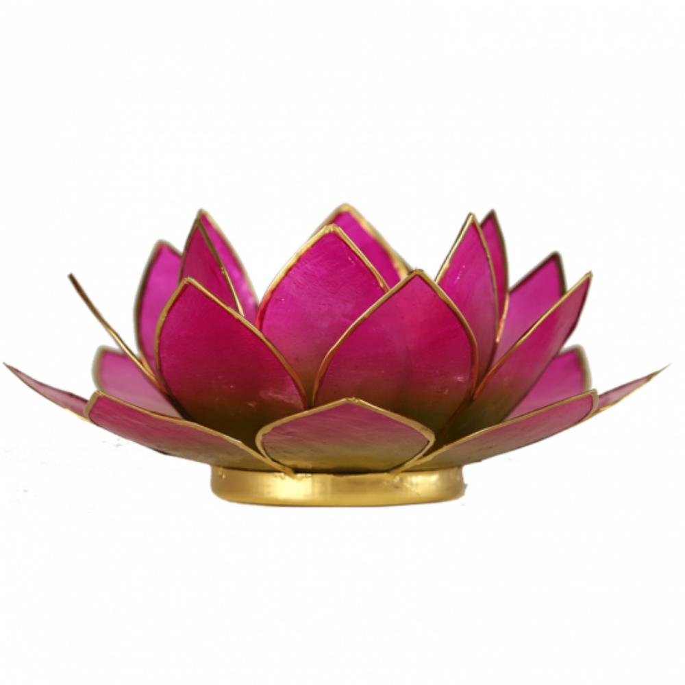 Mécsestartó Lótuszvirág 13,5 cm, zöld - pink, arany szegéllyel