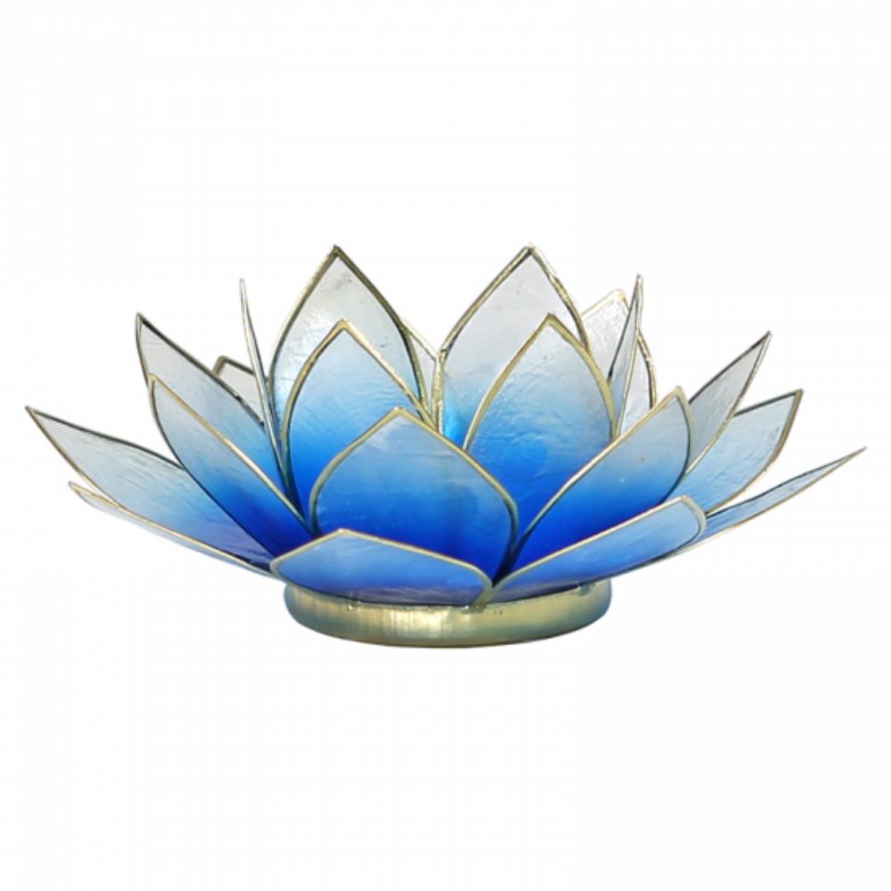 Mécsestartó Lótuszvirág 13,5 cm, kék-fehér, arany szegéllyel
