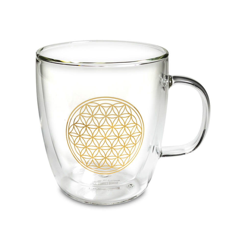 Dupla üvegfalú teásbögre - Élet virága