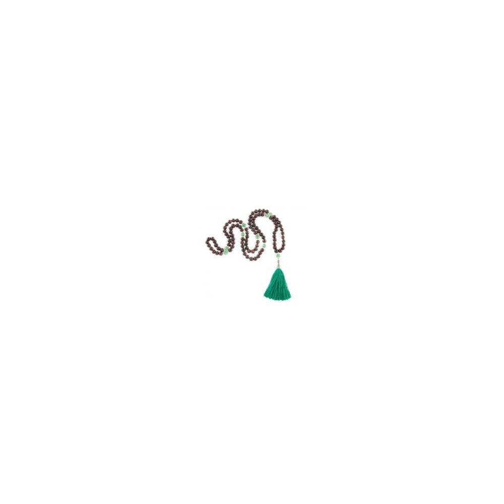 Mála nyaklánc  rózsafa és zöld onix, 108 szem