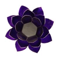 Mécsestartó Lótuszvirág 13,5 cm - sötétlila, koronacsakra, ezüst szegély