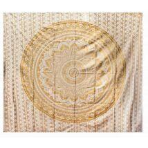 Mandalás ágytakaró, falidísz - 225x205, fehér, arany