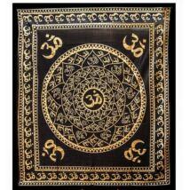 OM-os ágytakaró, falidísz - 235x203 fekete, arany