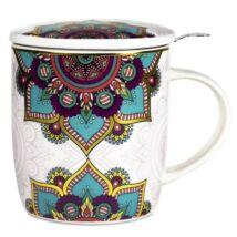 Teásbögre Szűrővel - Mandala - türkiz