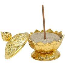 Lotus füstölő tartó fém - arany színben