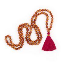 MÁLA - nyaklánc szantálfából, pink színű zsinórral,108 szemes