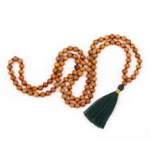 MÁLA - nyaklánc szantálfából, sötétzöld színű zsinórral, 108 szemes