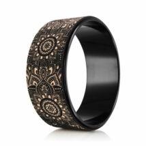 Yoga Design Lab Mandalás jógakerék - Mandala Black, parafa borítással