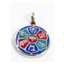 Medál Om Mani mantrával, középen Buddha szemmel