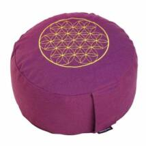 Meditációs párna - Élet virága - Flower of Life - Rondo Basic 32 x 20 cm - padlizsán