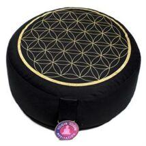 Meditációs párna élet virága hímzett mintával, fekete
