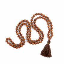 MÁLA - nyaklánc szantálfából, barna színű zsinórral, 108 szemes