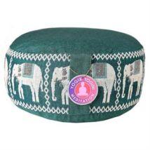 Meditációs párna elefántokkal, zöld