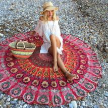 Strandszőnyeg - Piros mandalás (140 cm)