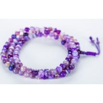 Mála nyaklánc lila achátból, 108 szem