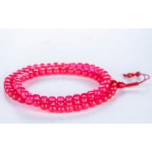 Mála nyaklánc rózsaszín onixból, 108 szemes