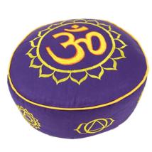 Meditációs párna 7 csakrával, és OM-mal, lila, hímzett