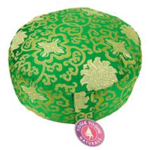 Kerek meditációs párna indákkal, arany-zöld