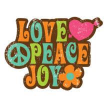 Hűtőmágnes - Love, Peace, Joy