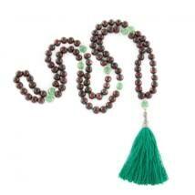 Mála nyaklánc  fa gyöngyök, zöld onix, 108 szem