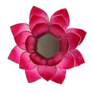 Mécsestartó Lótuszvirág 13,5 cm pink, ezüst szegéllyel