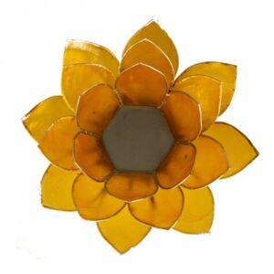 Mécsestartó Lótuszvirág 13,5 cm, 3. csakra, sárga, ezüst szegély