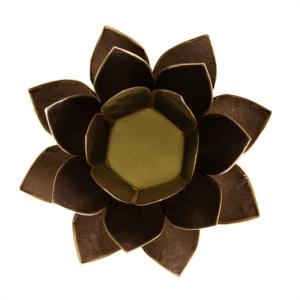 Mécsestartó Lótuszvirág 13,5 cm -fekete, arany szegéllyel