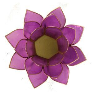 Mécsestartó Lótuszvirág 13,5 cm, világos lila, arany szegéllyel