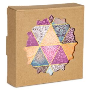 Mandala alátét kerek - Többszínű mandalás - 6-os készlet