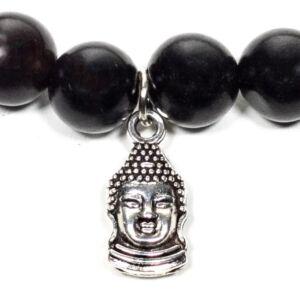 Mala - Fekete fa rugalmas karkötő - Buddhával