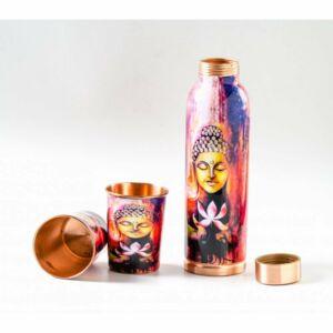 Vörösréz kulacs és pohár szett, Buddhás