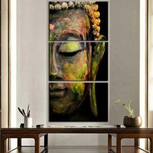 3 részes Zöld Buddha vászonkép - Keret nélkül