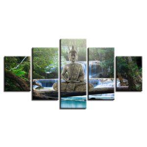 5 részes Buddha Waterfall vászonkép - Keret nélkül