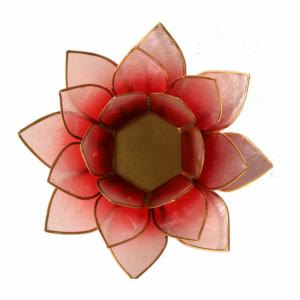 Mécsestartó Lótuszvirág 13,5 cm, piros, rózsaszín, arany szegéllyel