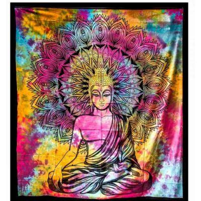 Buddhás, mandalás ágytakaró, falidísz - 230x203