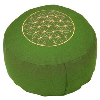 Meditációs párna - Élet virága - Flower of Life - Rondo Basic 32 x 20 cm - zöld