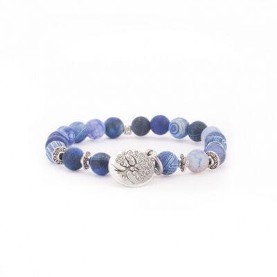 Mala karkötő, kék achát (divat ékszer) életfa függővel, L méret