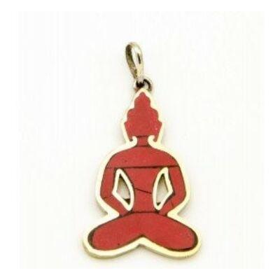 Buddha alakú medál, korall