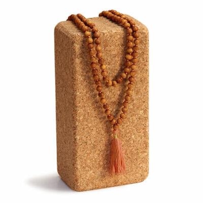 MÁLA - nyaklánc szantálfából, barna zsinórral, 108 szemes
